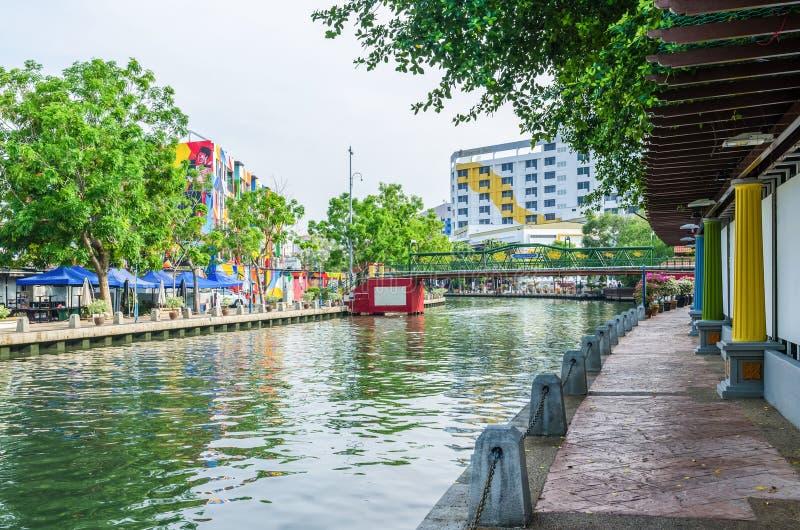 沿马来西亚马六甲河的河沿风景,它被列出了当联合国科教文组织世界 免版税图库摄影