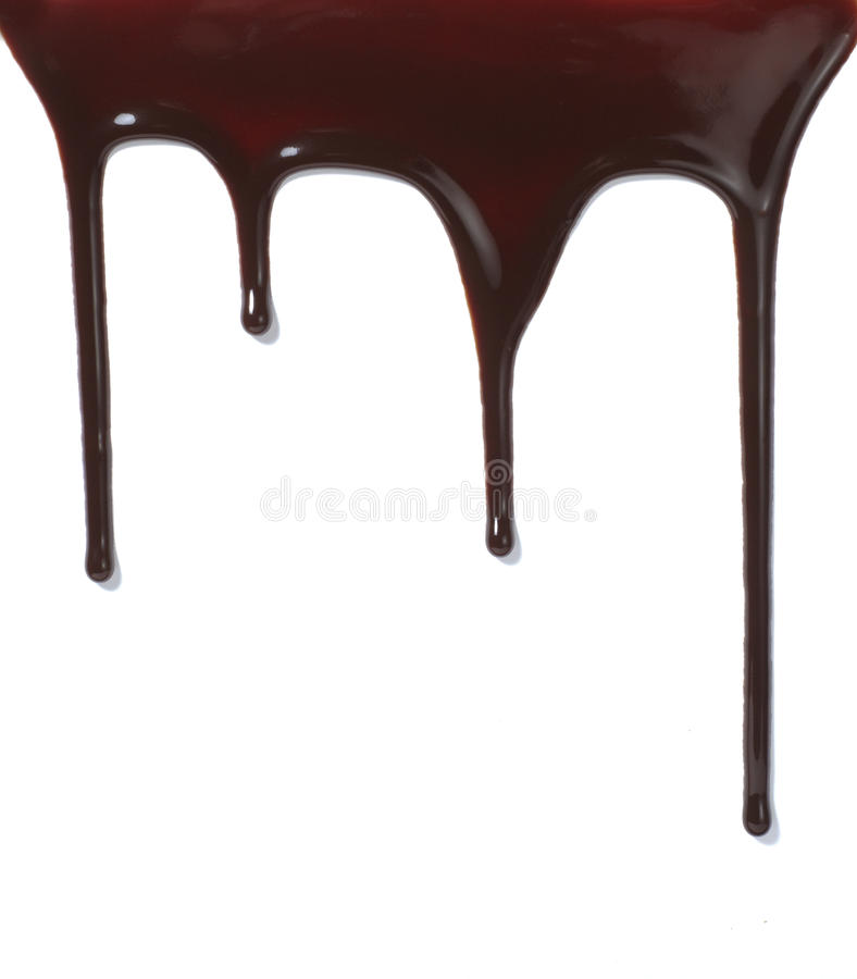 泄漏液体甜糖浆的巧克力食物 免版税图库摄影