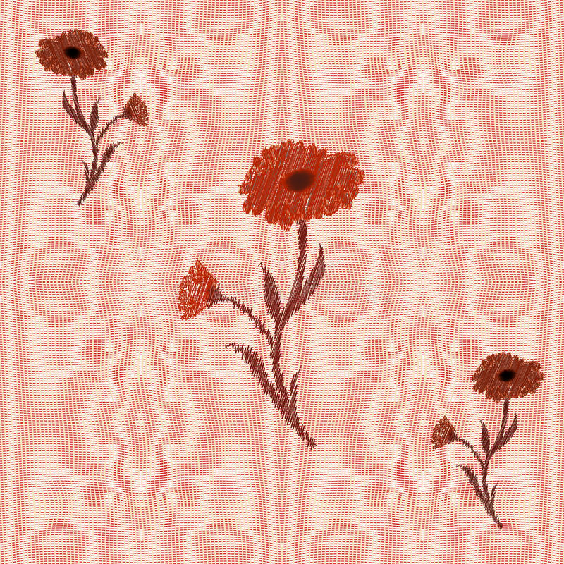 织法交织与花卉补花的无缝的样式 皇族释放例证