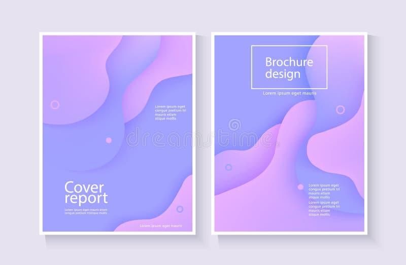 法人报告盖子与蓝色和紫罗兰色波浪的摘要背景小册子设计的 皇族释放例证