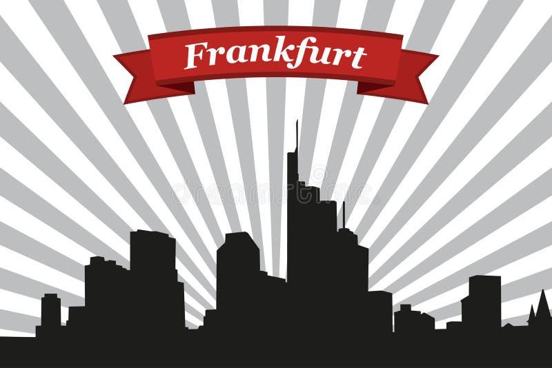 法兰克福市地平线有光芒背景和丝带 库存例证