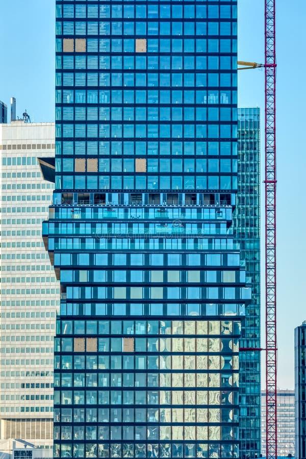 法兰克福现代建筑学摩天大楼地板细节视图 库存照片