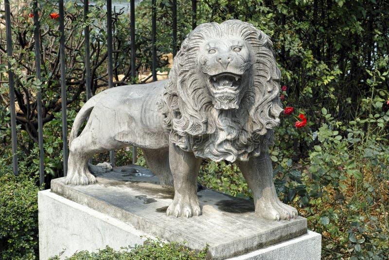 法兰克福石头狮子雕塑 库存图片