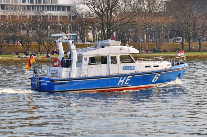 法兰克福,德国- 2015年3月18日:警察汽艇, Demonstra 免版税图库摄影
