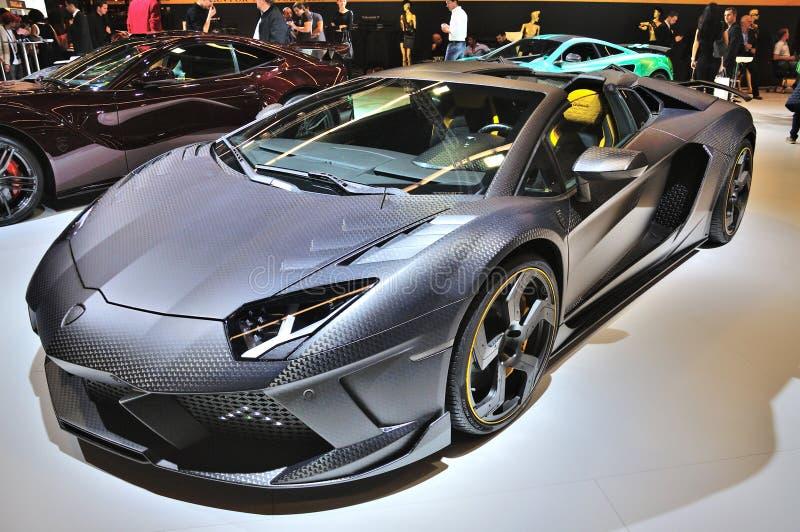 法兰克福- 9月14日:Lamborghini Aventador Carbonado Mansory 库存图片