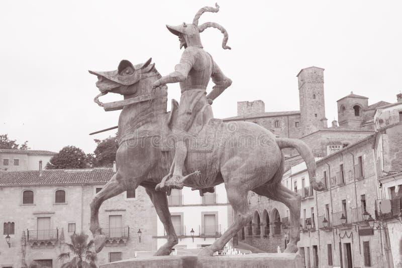 法兰西斯克・皮泽洛雕象,特鲁希略角 免版税库存图片