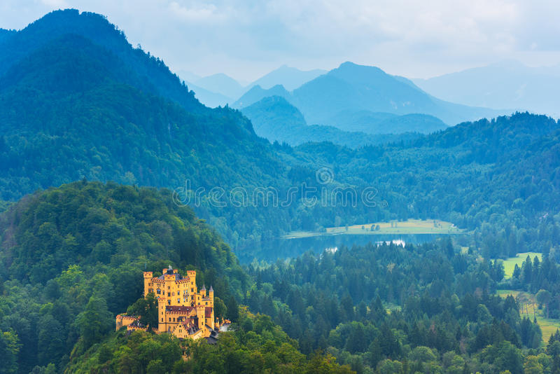 巴法力亚Hohenschwangau城堡视图 图库摄影