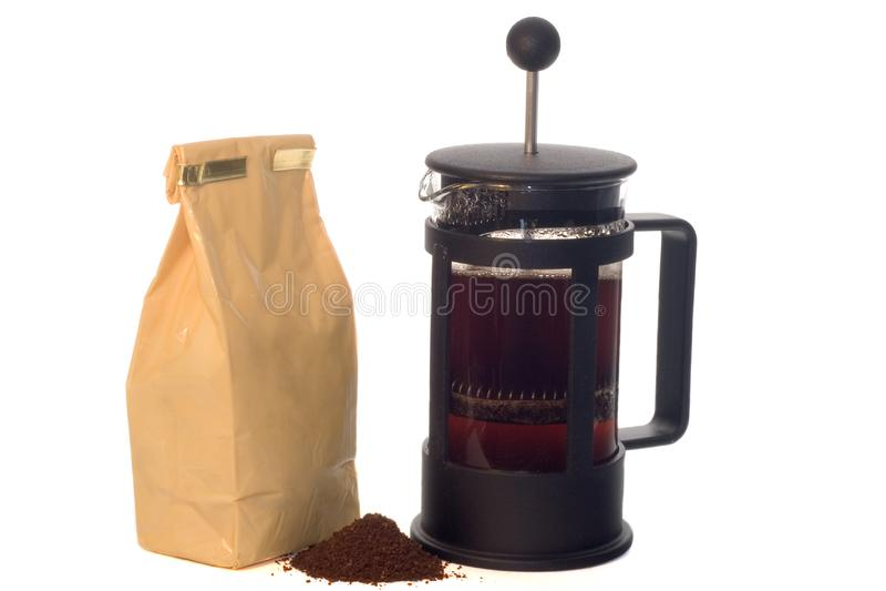 法国人新闻和咖啡 免版税库存图片