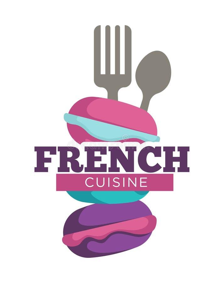 法国人烹调传统膳食,被隔绝的商标 库存例证