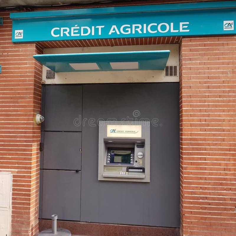 法国农业信贷银行银行银行终端在图卢兹,法国 库存照片