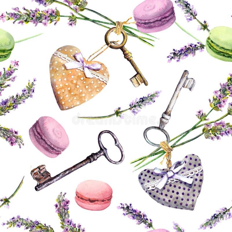 法国农村背景-淡紫色开花,蛋白杏仁饼干蛋糕,葡萄酒钥匙,纺织品心脏 无缝的模式 水彩 库存例证