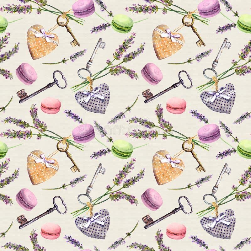 法国农村背景-淡紫色开花,蛋白杏仁饼干蛋糕,葡萄酒钥匙,纺织品心脏 无缝的模式 水彩 图库摄影