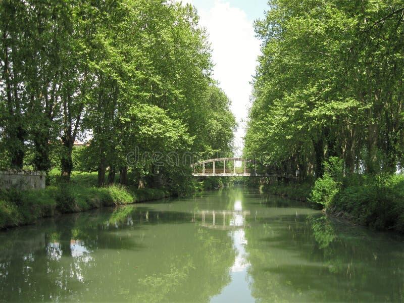 法国南部,加龙河河的旁边运河 库存照片