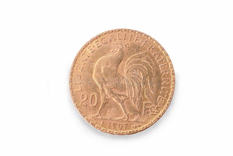 法国古老金币 20法郎 1907年 撤消 库存图片