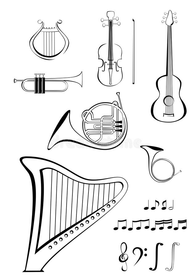 法国吉他竖琴垫铁里拉琴喇叭小提琴 免版税库存照片