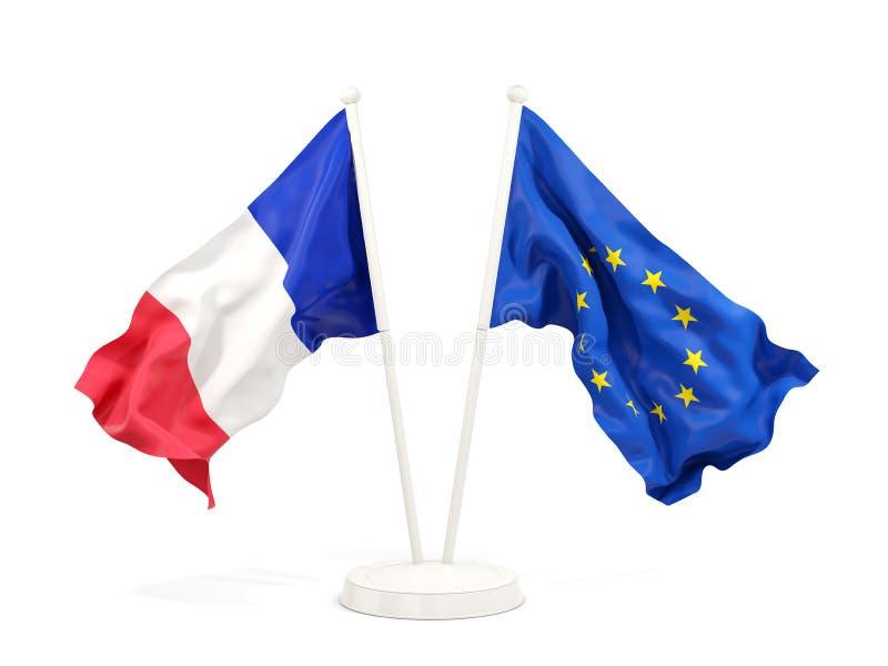 法国和欧盟两面挥动的旗子  向量例证