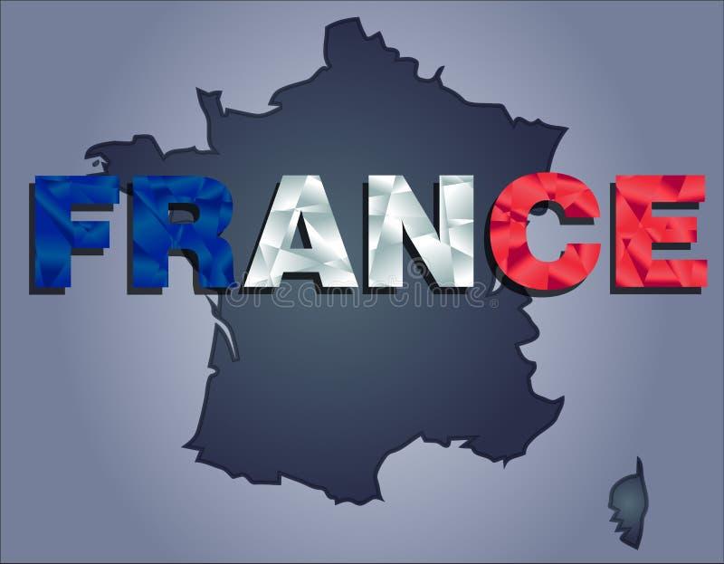 法国和法国词疆土等高在国旗的颜色的 库存例证