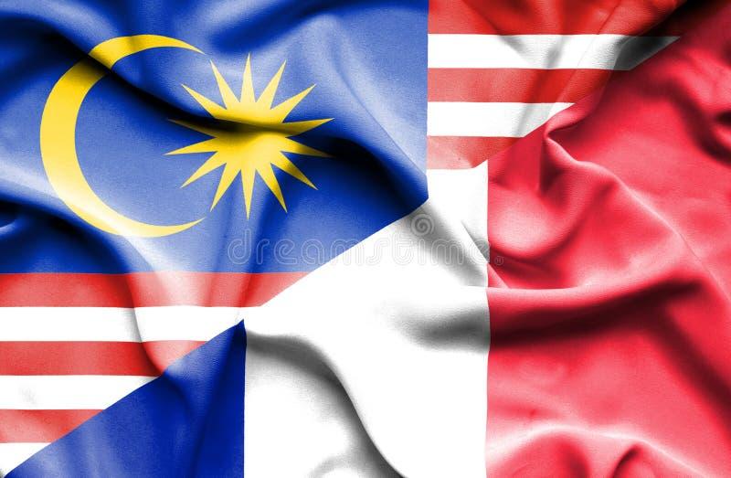 法国和马来西亚的挥动的旗子 皇族释放例证