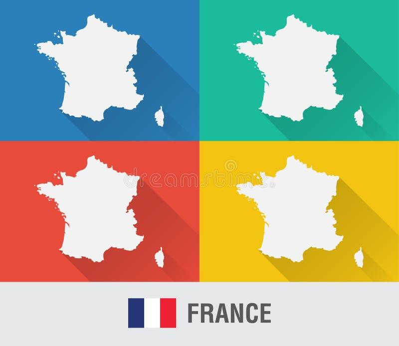法国在平的样式的世界地图与4种颜色 向量例证