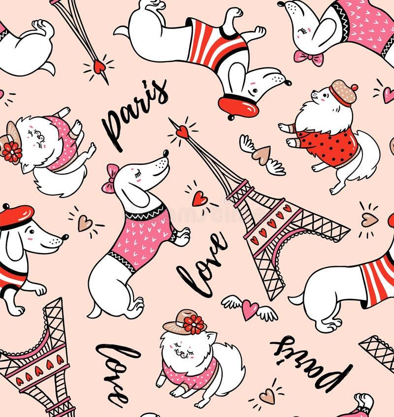 法国在桃红色背景的样式狗无缝的样式 逗人喜爱的动画片巴黎人达克斯猎犬和埃佛尔铁塔导航例证 皇族释放例证