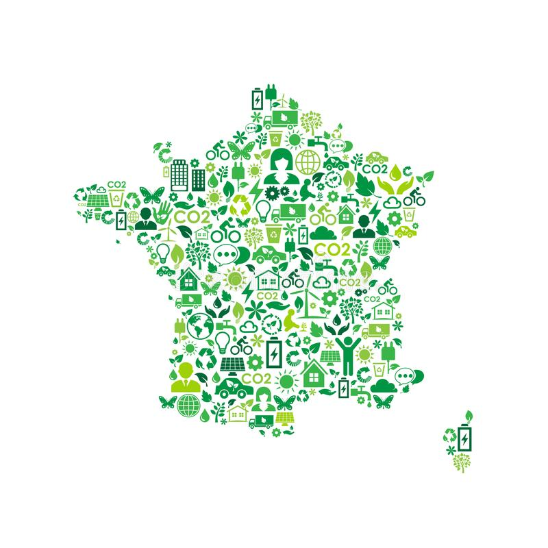 法国地图环境保护绿色概念象 向量例证