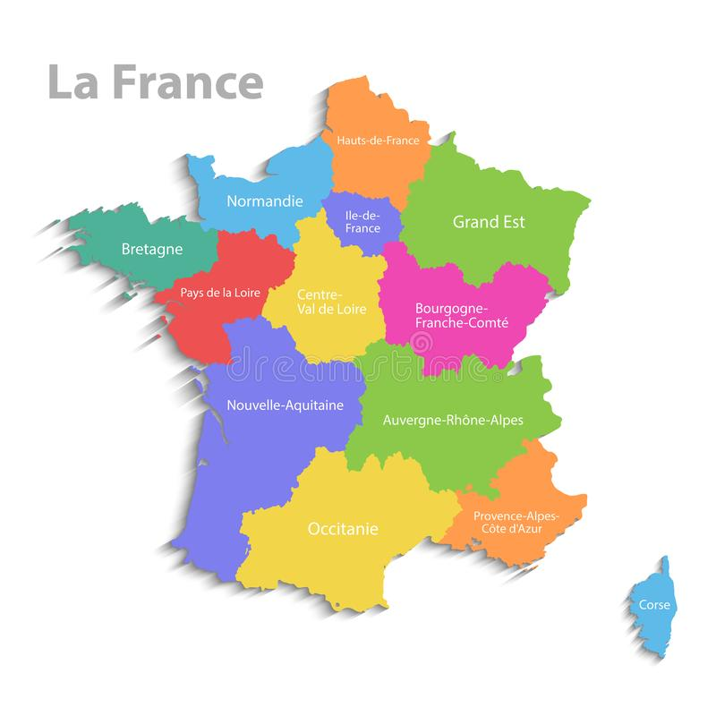 法国地图,新的政治详细的地图,分开的各自的地区,当状态名字,被隔绝在白色背景3D 皇族释放例证