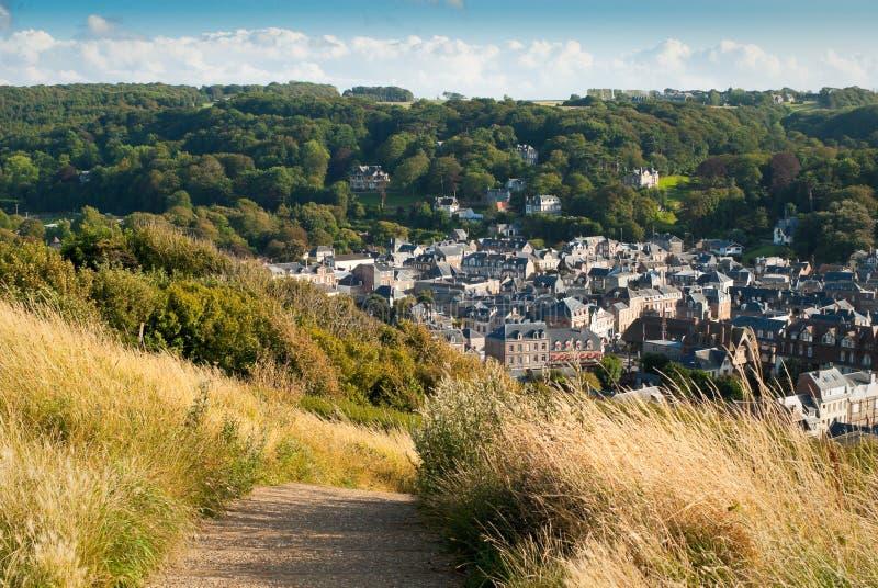法国城镇tretat视图 图库摄影