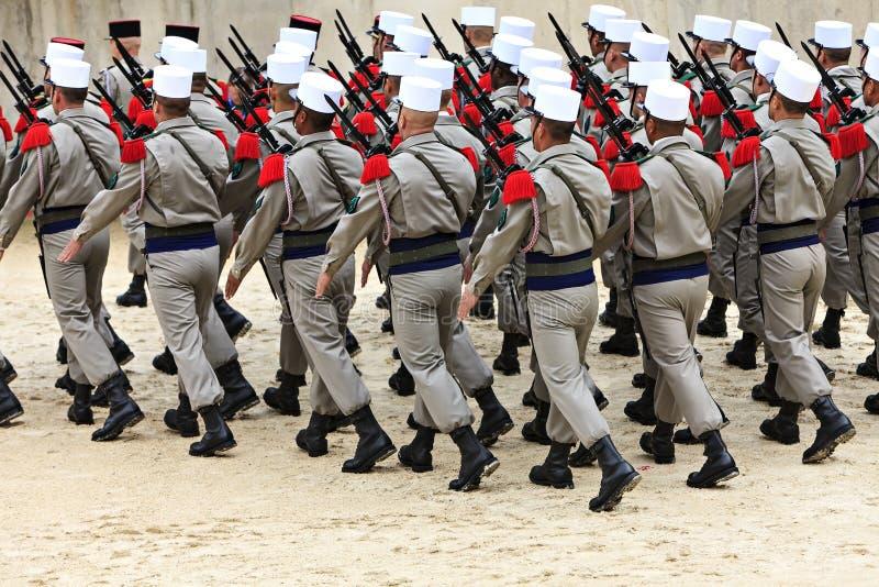 法国士兵游行  库存照片