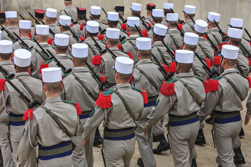 法国士兵游行  免版税库存图片