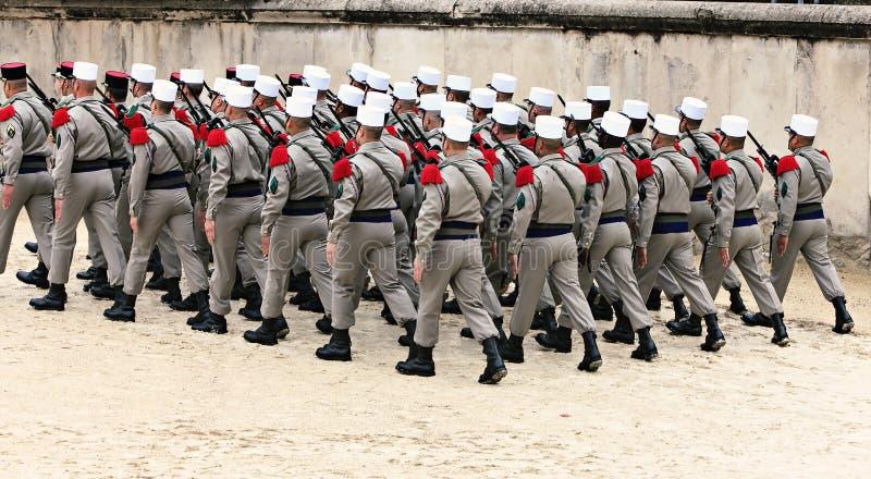 法国士兵游行  免版税库存照片
