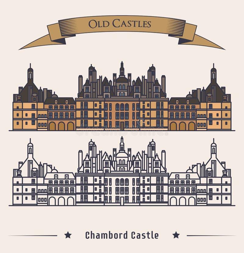 法国大别墅Chambord城堡大厦 库存例证