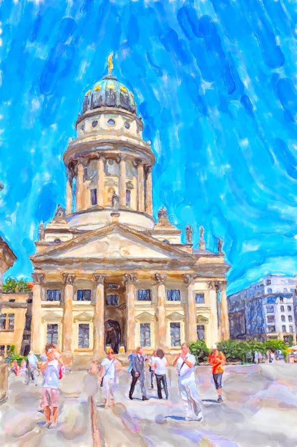 法国大教堂的水彩例证在御林广场地方在柏林 向量例证