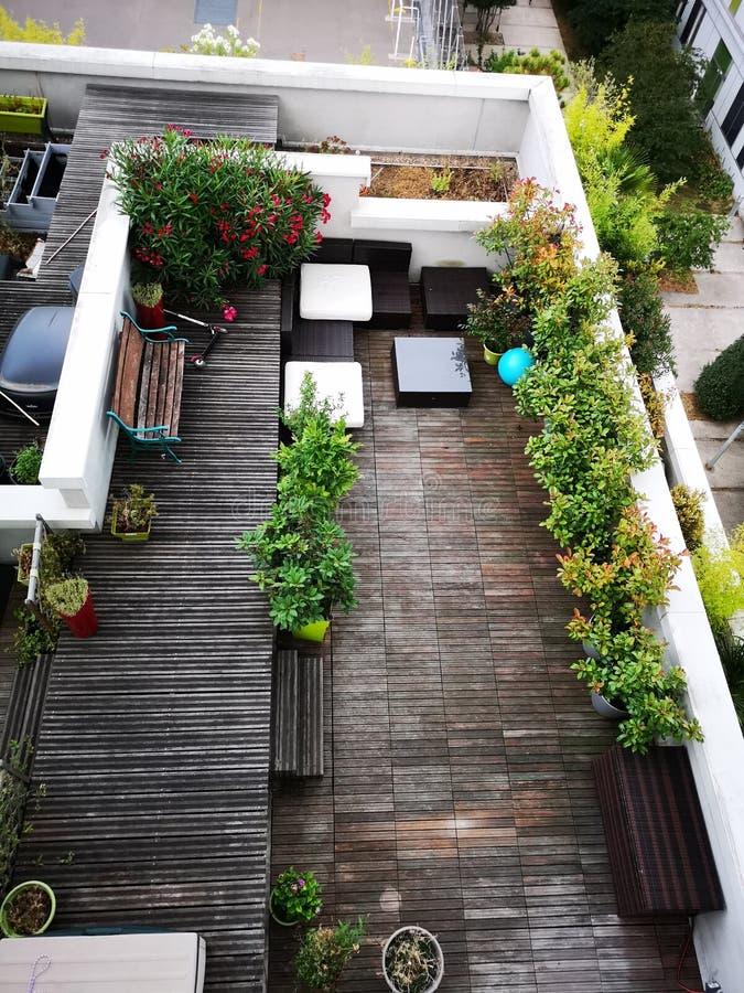 法国大阳台庭院 库存图片