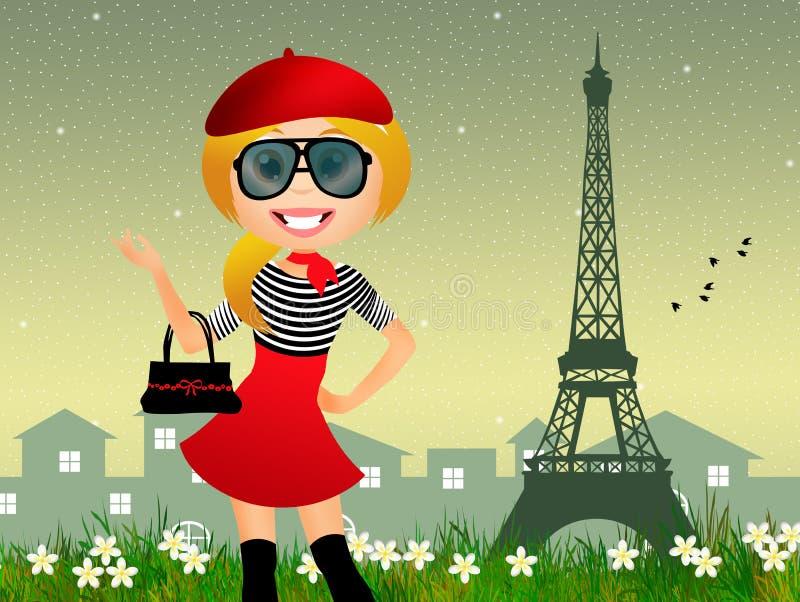 法国女孩 向量例证