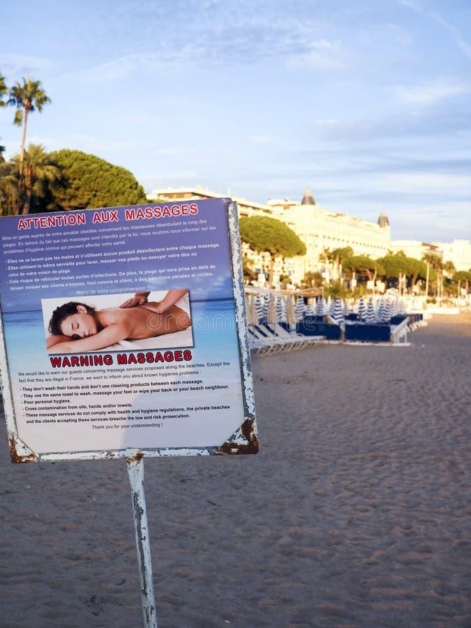法国戛纳法国里维埃拉健康危险提示 免版税库存照片