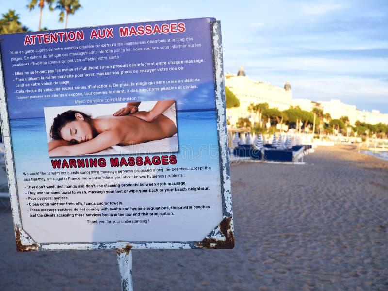 法国戛纳法国里维埃拉健康危险提示 库存图片