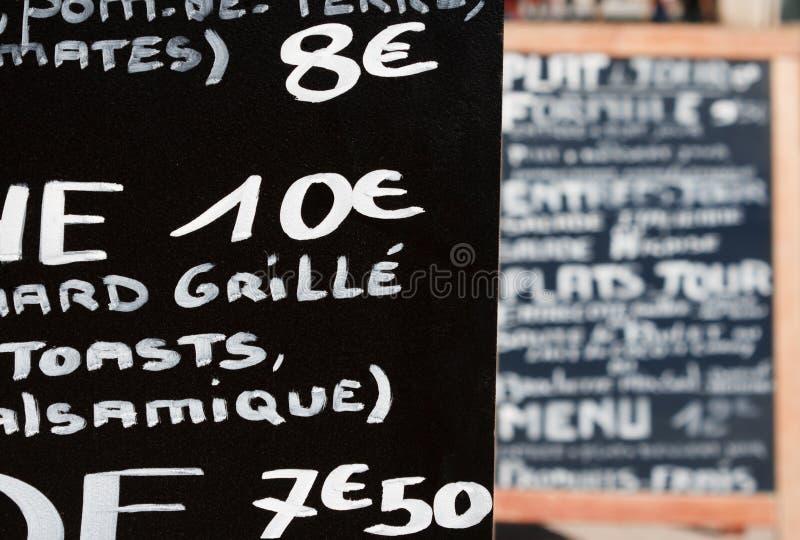 法国手写的菜单 免版税库存照片