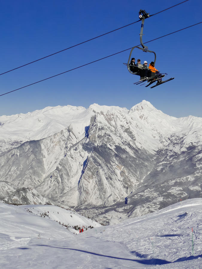法国手段滑雪valloire 免版税库存照片
