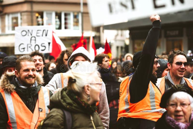 法国抗议的SNCF工作者 免版税库存图片