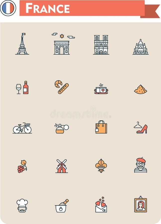 法国旅行象集合 向量例证