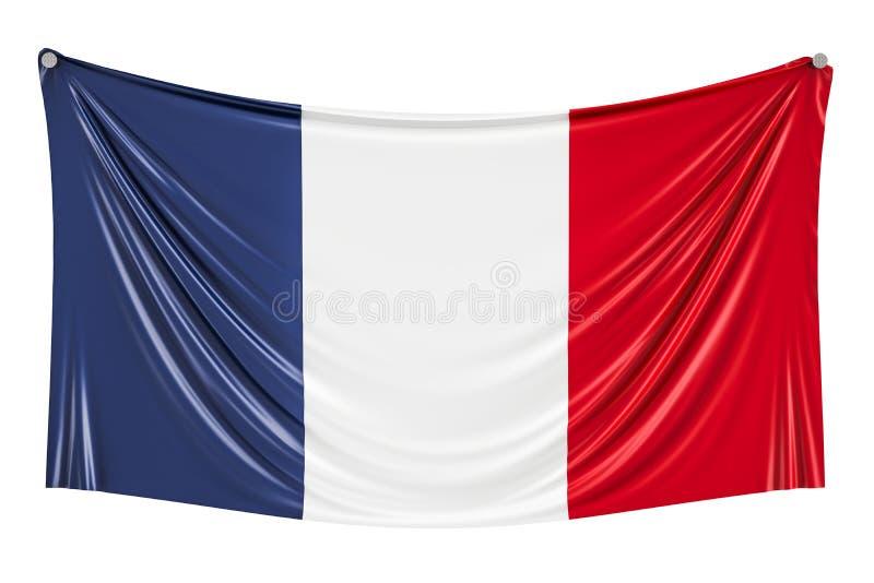 法国旗子垂悬在墙壁上的, 3D 向量例证