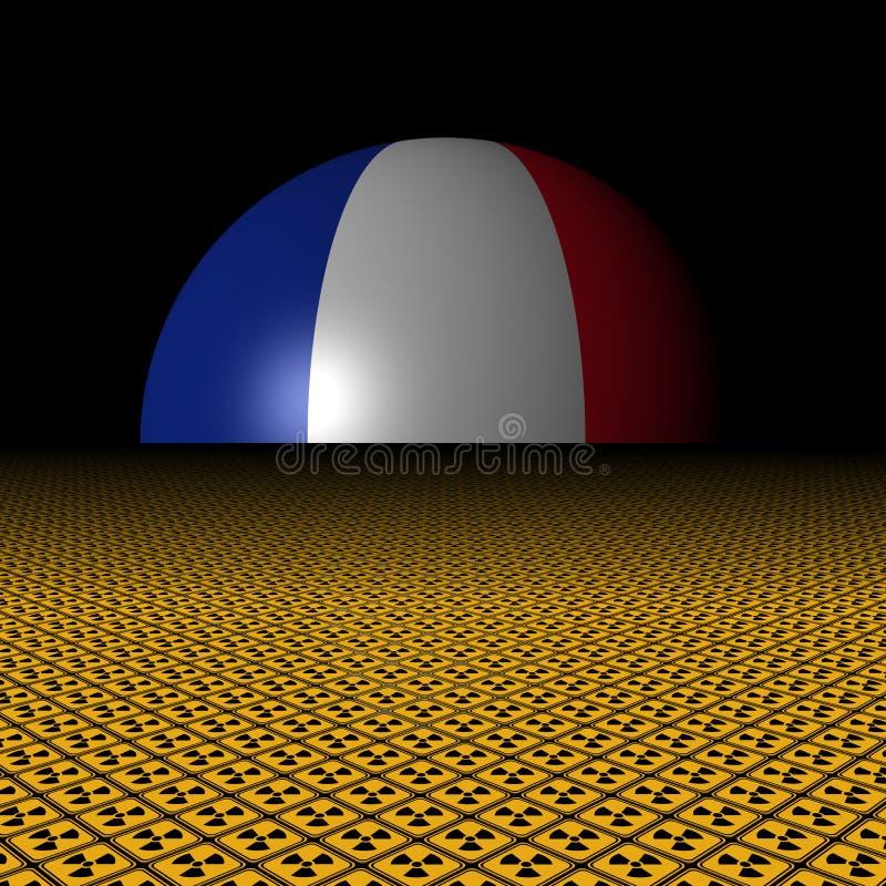 法国旗子球形和放射性警报信号例证 向量例证