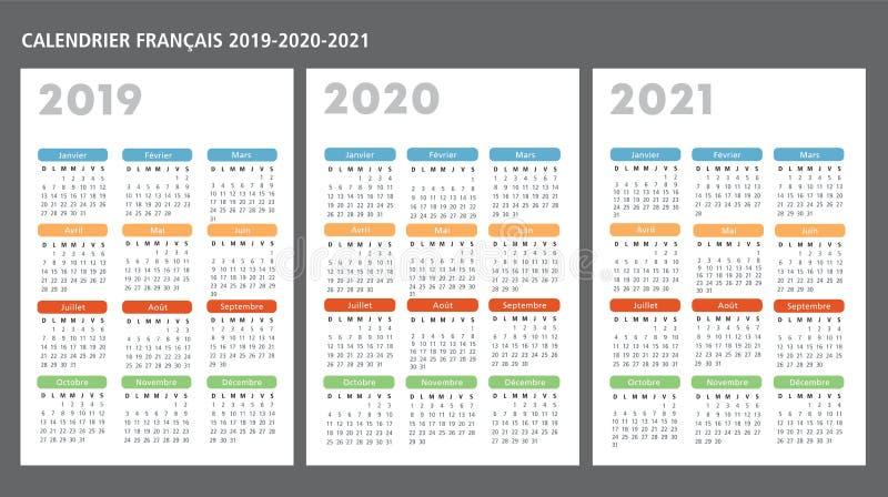 法国日历2019-2020-2021传染媒介模板