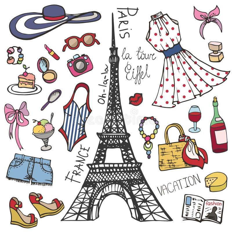 巴黎法国时尚夏天集合 妇女,女孩上色了穿戴 库存例证