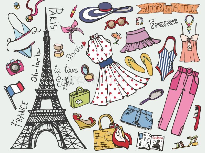 巴黎法国时尚暑假集合 妇女色的穿戴 皇族释放例证