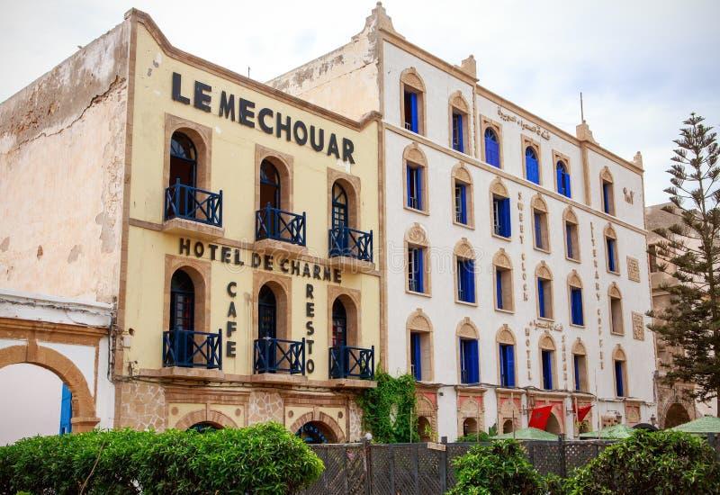 法国样式建筑学在索维拉,摩洛哥 库存照片