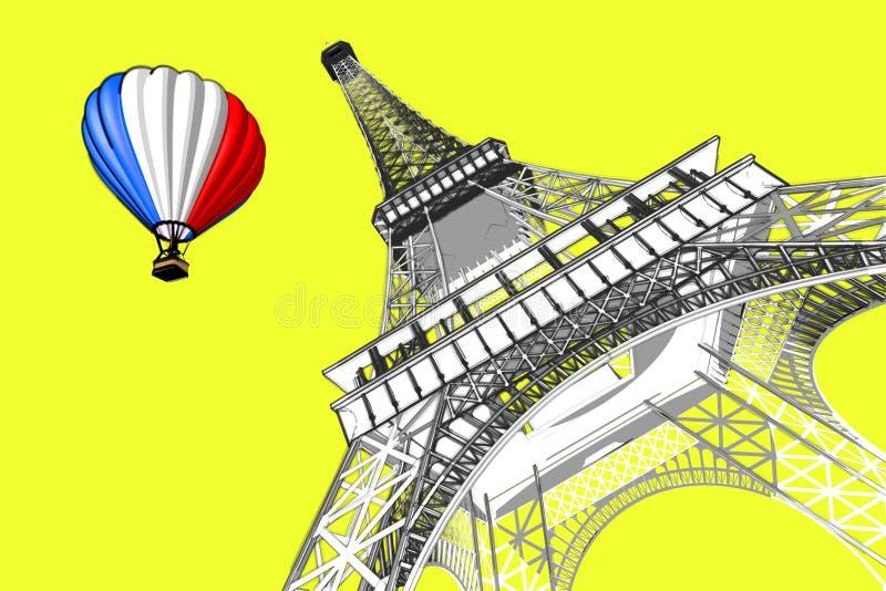 法国概念 巴黎速写手绘画风格埃菲尔铁塔和热空气气球有法国旗子的 3d翻译 库存例证