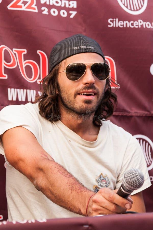 法国歌手Marc Kemar Maggiori (Pleymo) 在Tyshino体育场的音乐节Kryliya 2007年7月22日在莫斯科,俄罗斯 免版税库存图片
