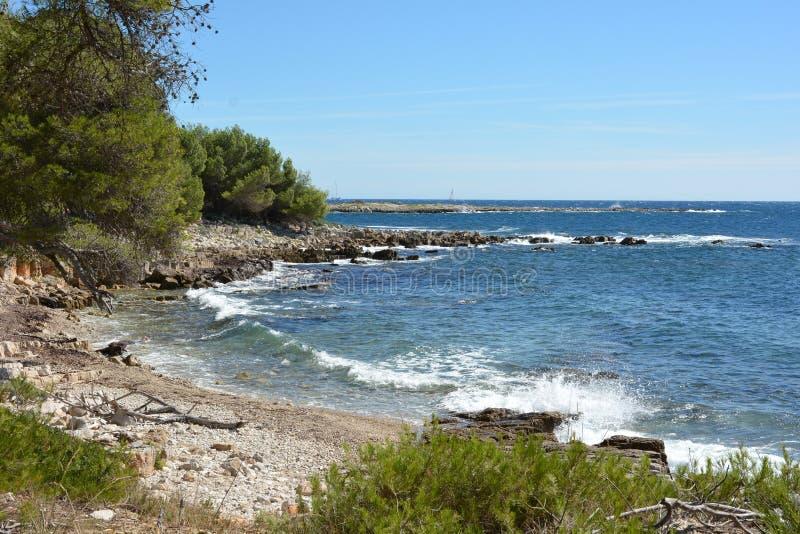 法国海滨, Lerins海岛,在Sainte延命菊海岛上的小河 图库摄影