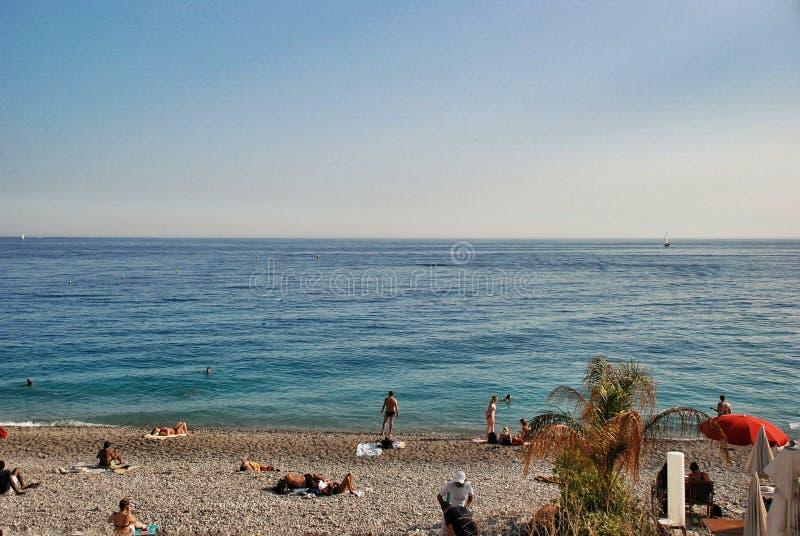 法国海滨,城市海滩在尼斯法国 库存照片